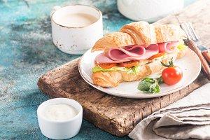 Fresh croissant sandwich
