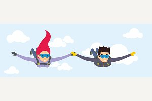 Vector characters skydivers