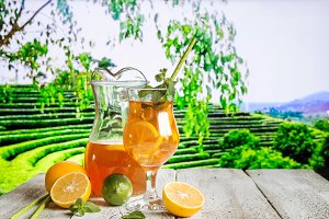 Glass of summer ice tea