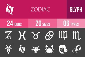 24 Zodiac Glyph Inverted Icons