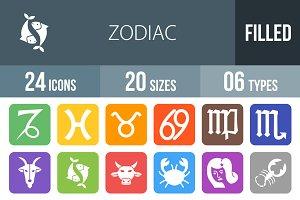 24 Zodiac Flat Round Corner Icons