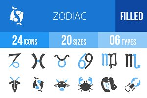 24 Zodiac Blue & Black Icons