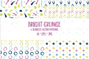 Bright Grunge seamless patterns