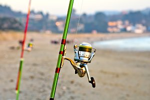 fishing in beach
