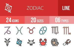 24 Zodiac Filled Line Icons