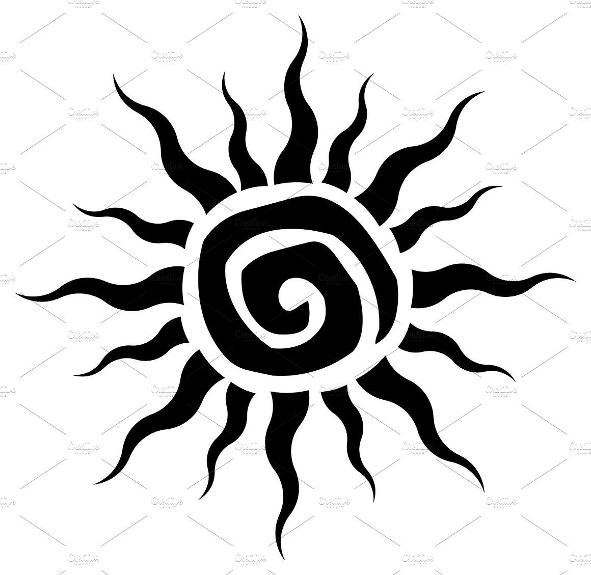 Black Abstract Sun Simple Design Illustrations Creative Market
