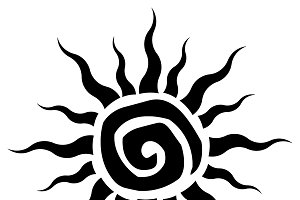 Black Abstract Sun Simple Design