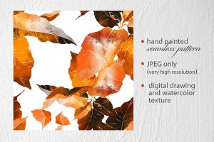 red-orange leaves seamless pattern
