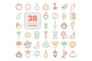 Vegetables outline icons set