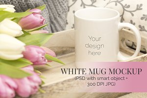 White Mug w Tulips on Tray Mockup
