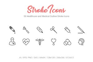 50 Healthcare Outline Stroke Icons