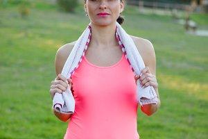 Athletic woman training