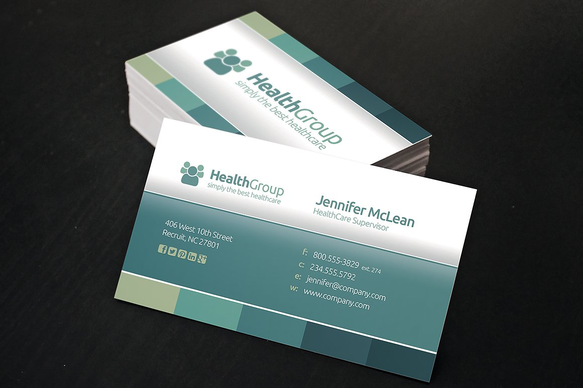 Delighted health care business cards pictures inspiration healthcare business cards business card templates creative market reheart Image collections