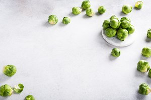 Background with Brussels sprouts