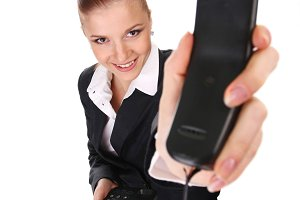 businesswoman with black telephone