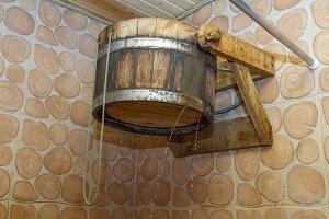 Tub in the sauna .