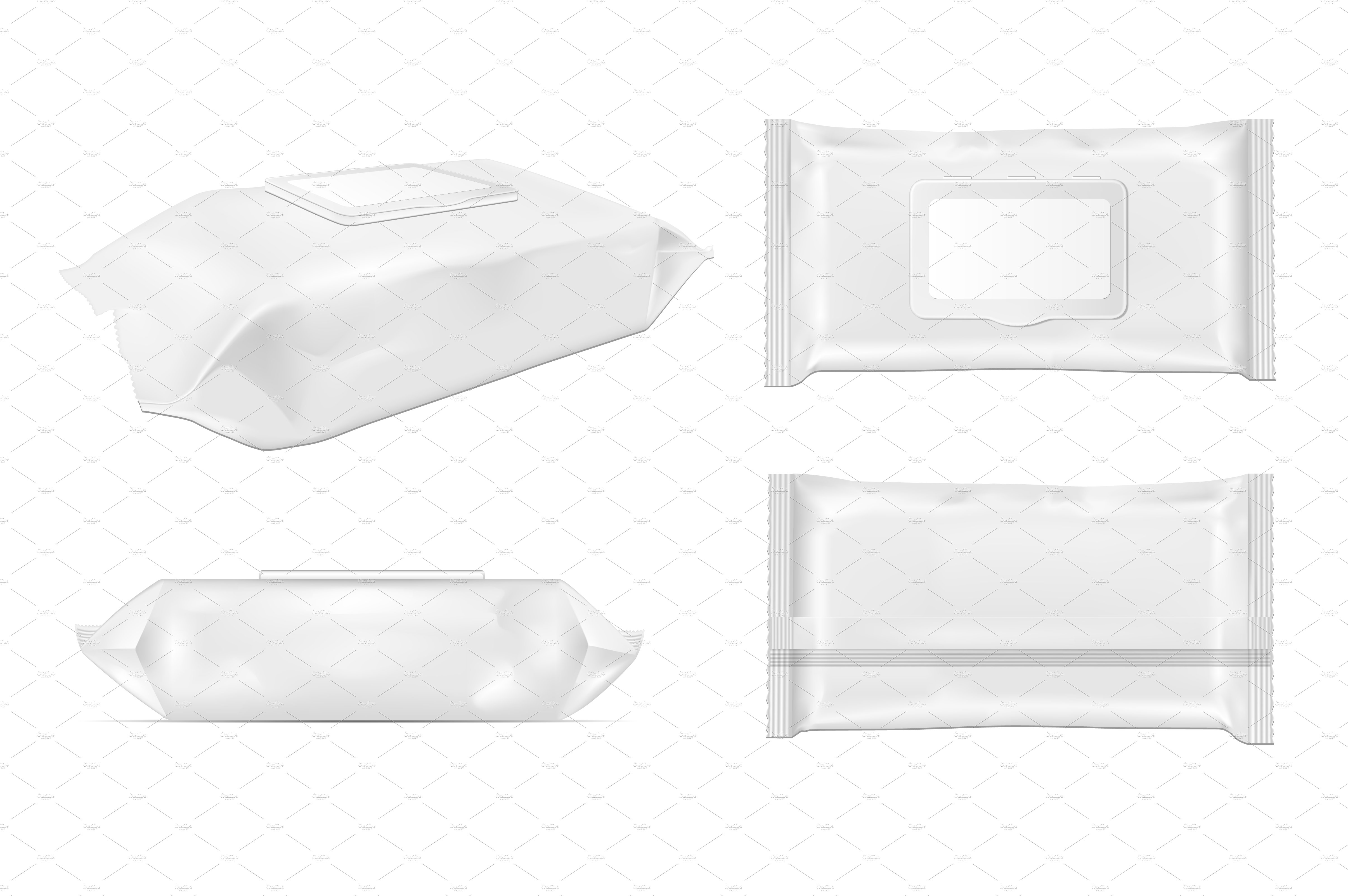 White Wet Wipes Package With Flap Creative Product Mockups