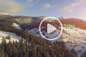 4K Aerial Drone View: Beautiful mountain Landscape with blue sky