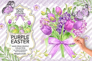 Watercolor Purple Easter design