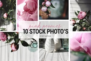 Pink peonies, styled stock photos