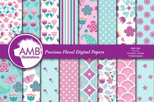 Precious Floral papers AMB-1406