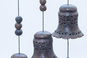 wooden handmade hanging bells.
