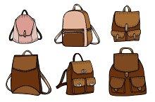 Set of Sketch Doodle Backpacks