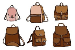 Set of Sketch Doodle Backpacks