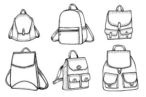 Set of Sketch Doodle Backpacks.