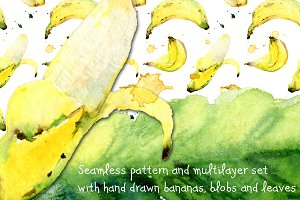 Watercolor bananas, blobs and leaves