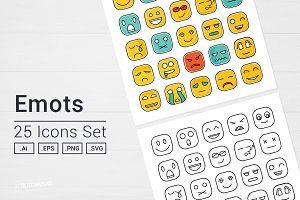 Square Emot Icons Set
