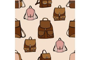 Seamless hand drawn Backpack background.