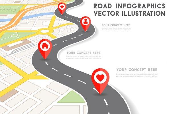 Road Infographic Vector Illustratio…