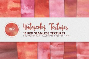Watercolor Seamless Textures Red