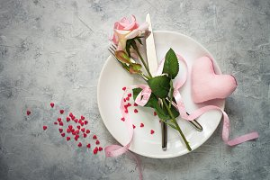 Valentines day table setting.