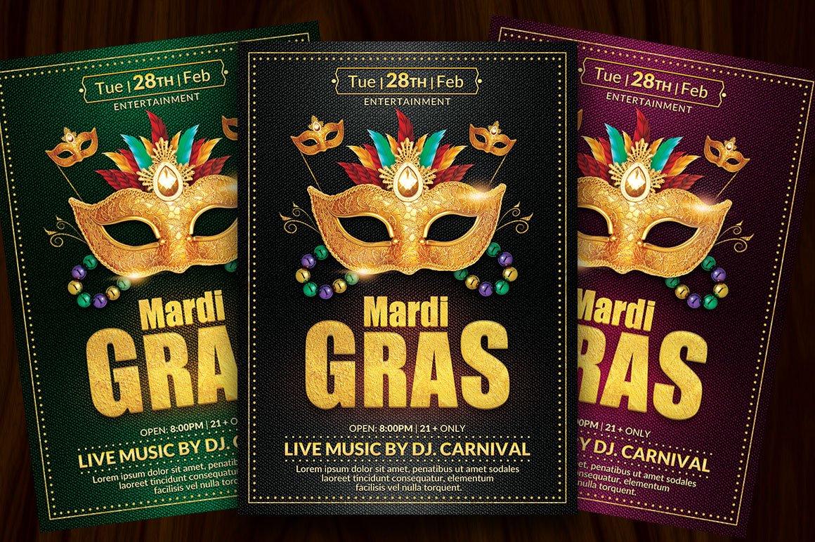 Mardi gras flyer template flyer templates creative market saigontimesfo