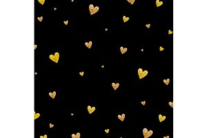 Gold glitter hearts background