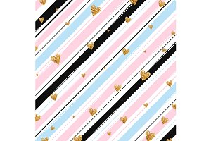 Glitter hearts on stripes background