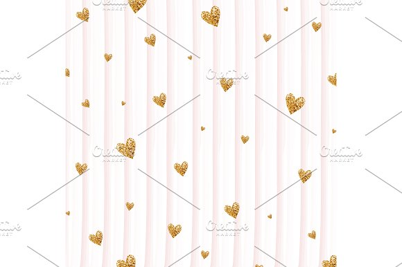 Love pattern with glitter hearts