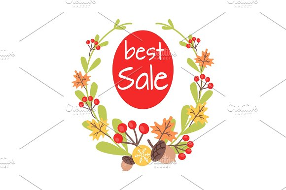 Christmas Best Sale Icon Surrounded By Wreath