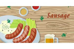 Sausage on the Plate Isolated on Wooden Background