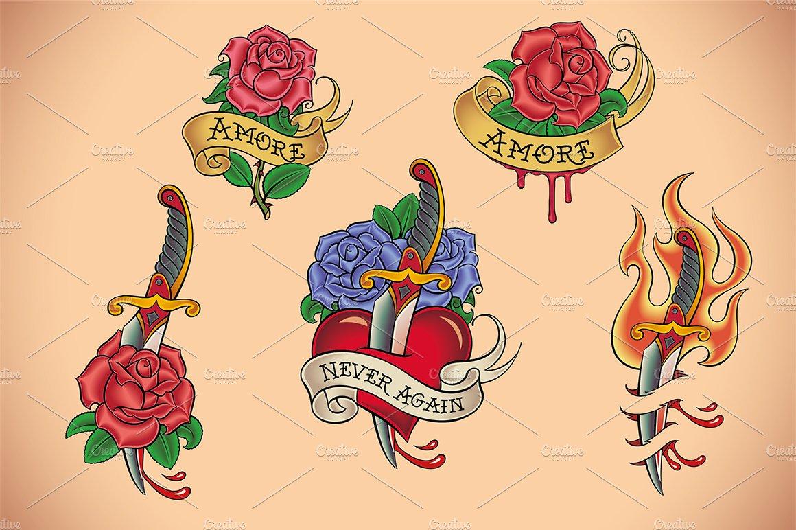 Old School Passion Tattoo 5x Illustrations Creative Market