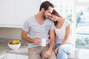 Young couple having coffee together