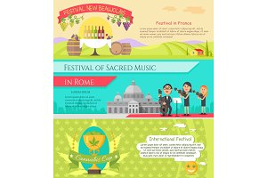 Italy National Festivals in Flat Style Design