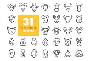 Farm animals outline icons set. Vector head