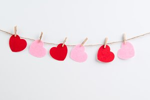Pink and Red Felt Hearts