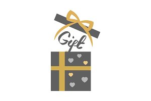 Vintage Decorated Open Gift Box on White. Vector