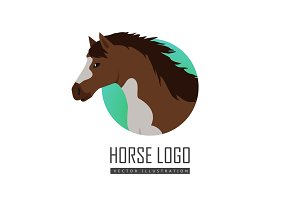 Horse Vector Illustration in Flat Design