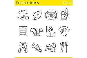 American football. 12 icons. Vector