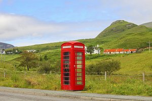 Red phonebooth in English landscape